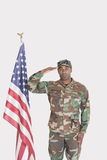 Portrait of US Marine Corps soldier saluting American flag over gray background Stock Photography