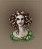 Portrait of a vampire girl. Creepy vampire girl with blood all over her face and green dress. Has red eyes, pale skin and vintage hairstyle. Colored pencil royalty free illustration