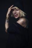 Portrait of vampire woman Stock Photo