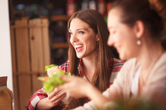 Portrait of vegeratian ladies in cafe Stock Photo