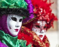 Portrait of a Venetian Mask. Venice, Italy- February 18th, 2012: Portrait of a person in a traditional Venetian Mask during the Venice Carnival days Royalty Free Stock Photography
