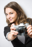 Pretty young shooter. Stock Photography