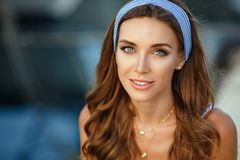 Portrait of a very beautiful sensual and girl in a blue str royalty free stock photos