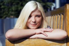 Portrait of very cute blond girl Royalty Free Stock Photos