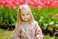 portrait of a very cute pretty girls blonde in a pink cloak around flower beds with red tulips in the Park stock photos