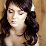 Portrait of a very cute sensual beautiful girls brunette with ey. Es closed, close-up Stock Photos