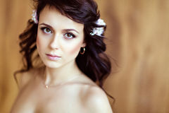 Portrait of a very cute sensual beautiful girls brunette with wa. Ving hair, close up Stock Photo