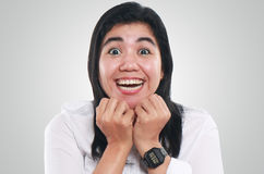 Portrait of Very Excited Young Asian Woman Royalty Free Stock Photos