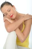 Portrait of a Very Happy Relaxed Contented Attractive Young Woman Royalty Free Stock Image