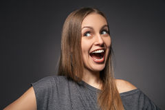 Portrait of a very happy woman laughing Royalty Free Stock Image