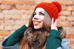 Portrait of a very happy young woman. Waiting for a miracle Royalty Free Stock Photos