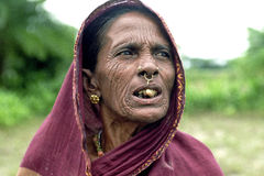 Portrait of very old Bengal nomadic woman Royalty Free Stock Photo