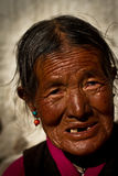 Portrait of a very old woman from Tibet Stock Photography