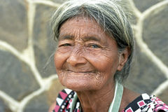 Portrait of very old, wrinkled, Latino woman. Nicaragua, department Nueva Segovia, Ocotal city: close of an elderly woman with a face full of wrinkles. She Royalty Free Stock Images