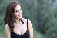 Portrait of a very pretty young brunette stock photos