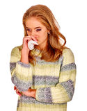 Portrait of very sad girl holding  handkerchief. Colds, allergies or depression. Isolated Royalty Free Stock Photography