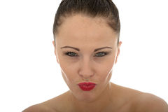 Portrait Of A Very Stern Evil Looking Beautiful Young Caucasian Royalty Free Stock Images