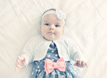 Portrait of very sweet little baby girl. Royalty Free Stock Image