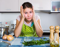 Portrait of very tired housewife Stock Photos