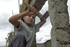 Portrait very young latino construction worker Royalty Free Stock Images
