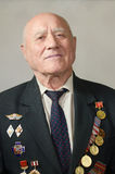 Portrait of a veteran of the Great Patriotic War. On a gray background Royalty Free Stock Images