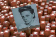 Portrait of victims of the Holocaust at the memorial stone in 102,000 Camp Westerbork. Netherlands Royalty Free Stock Image