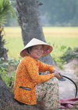 Portrait of Vietnamese farmer working on the rice Stock Photo