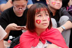 Portrait of Vietnamese football fans Stock Images