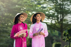 Portrait of Vietnamese girl traditional dress Royalty Free Stock Images