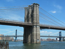 Portrait View of Brooklyn Bridge Tower, Manhattan Bridge in Back Stock Photo