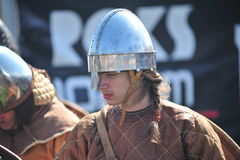 Portrait of a viking in helmet Royalty Free Stock Photo