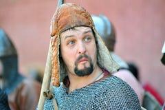 Portrait of a viking in helmet Stock Photo
