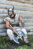 The portrait of the Viking with his ax Stock Image