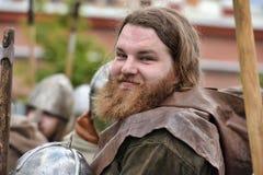 Portrait of a Viking. International historical festival Ladoga stock image