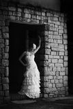 Portrait of vintage bride in monochrome Stock Images