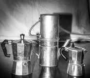 Portrait of vintage and differenttypes of coffe makers Royalty Free Stock Image