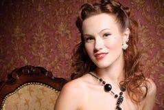 Portrait of vintage woman Stock Images