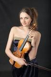 Portrait with violin Stock Photography