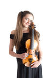 Portrait with violin Royalty Free Stock Photos