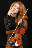 Portrait of a violinist Stock Photography
