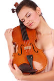Portrait with Violinist and violin Stock Images
