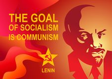 Portrait of Vladimir Lenin and lettering The goal of socialism is communism. Poster stylized soviet style. Leader of the USSR, Rus Stock Photography