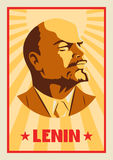 Portrait of Vladimir Lenin. Poster stylized Soviet-style. The leader of the USSR. Russian revolutionary symbol.  Royalty Free Stock Photography