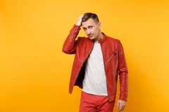 Portrait vogue confident handsome young man 25-30 years in red leather jacket, t-shirt stand isolated on bright trending royalty free stock images