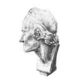 Portrait of Voltaire. Digital pointillism. Voltaire`s plaster head in profile. Stock Photos