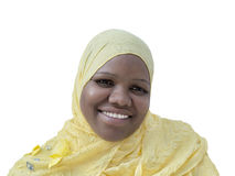 Portrait of a voluptuous woman wearing a headscarf, isolated Stock Photography