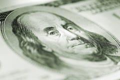 Portrait von Benjamin Franklin auf dem hundert dolla Lizenzfreies Stockfoto