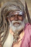 Portrait von einem indischen Sadhu Stockfotos