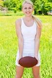 Portrait von Sportswoman des Rugbys Lizenzfreies Stockfoto