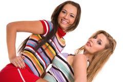 Portrait von zwei reizenden Mädchen Stockfotos